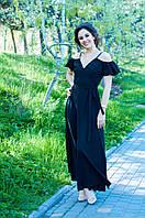 Черное струящееся платье в пол на запах с тонкой кокетливой лямочкой и спадающим рукавчиком (46-52)