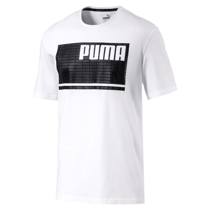 0a24ac123ef99 Футболка мужская спортивная Puma Summer Rebel Tee 850101 02 (белая, хлопок,  на каждый
