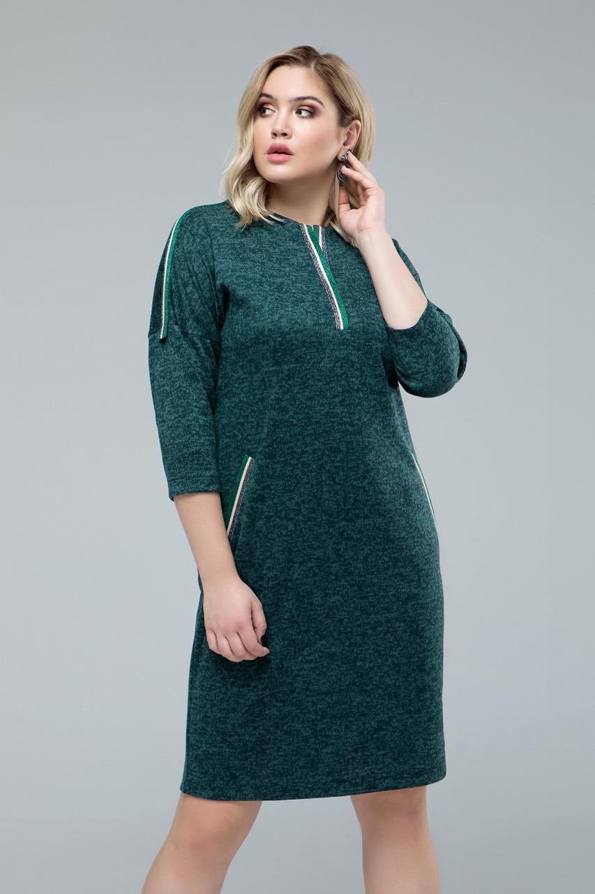 Платье  Лиза+ изумрудный