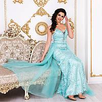 """Ніжне випускний довге м'ятна сукню з фатином """"Еллі"""", фото 1"""