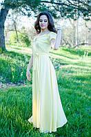 Желтое струящееся платье в пол на запах с тонкой кокетливой лямочкой и спадающим рукавчиком (46-52)