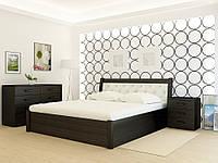 Кровать деревянная YASON Las Vegas PLUS Серый Вставка в изголовье Titan Bordo (Массив Ольхи либо Ясеня), фото 1