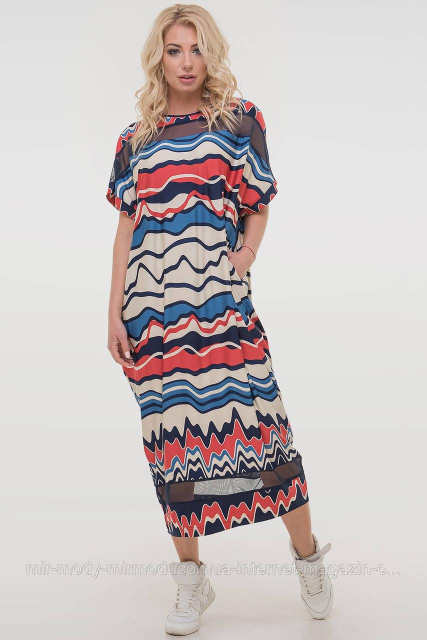 Летнее платье оверсайз синего с красным цвета с 44 по 60 размер (влн)