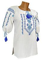 Красива жіноча вишиванка із геометричним орнаментом у білому кольорі тканини «Мадонна» Синій