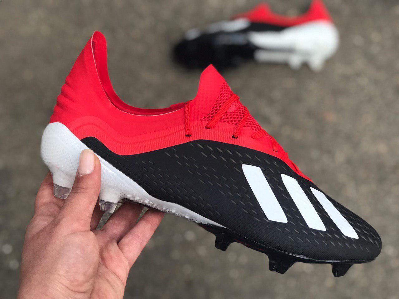 Бутсы для футбола Adidas X 18.1 красно-черные реплика