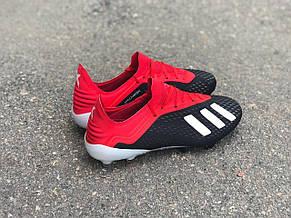 Бутсы для футбола Adidas X 18.1 красно-черные реплика, фото 3