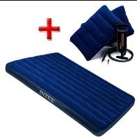 Надувной матрас Intex 68765 203х152х22 см (ручной насос и 2 подушки в комплекте)