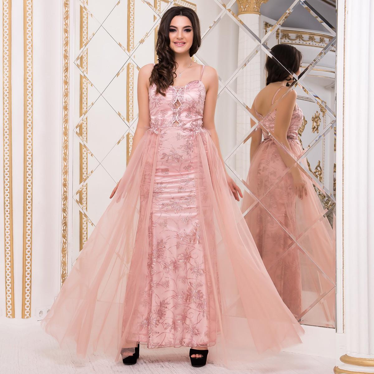 "Красиве випускне плаття русалка з атласу рожеве ""Еллі"""