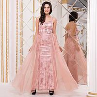 """Красиве випускне плаття русалка з атласу рожеве """"Еллі"""", фото 1"""