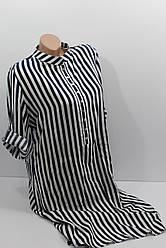 Женская рубашка-платье больших размеров в полоску с длинным рукавом оптом Турция