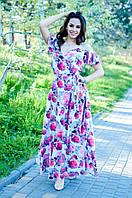 Струящееся платье в пол на запах с тонкой кокетливой лямочкой и спадающим рукавчиком (46-52)