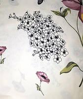 Ранфорс мод.№ 2 принт  ЦВЕТЫ серый