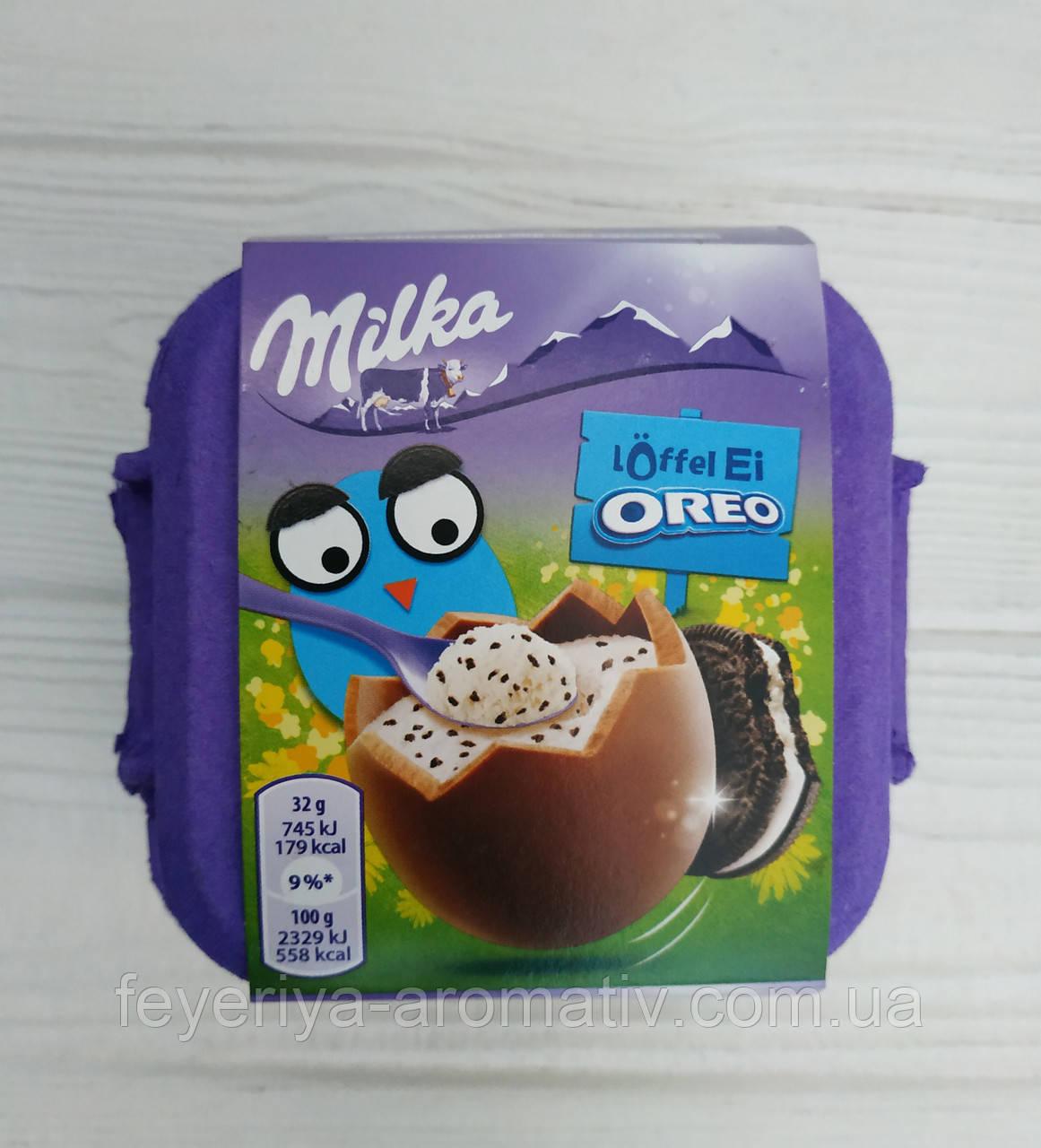 Шоколадные яйца с молочной начинкой Milka loffel Ei Oreo 4x32гр  (Швейцария)