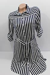 Женская рубашка-платье в полоску штапель с длинным рукавом оптом Турция