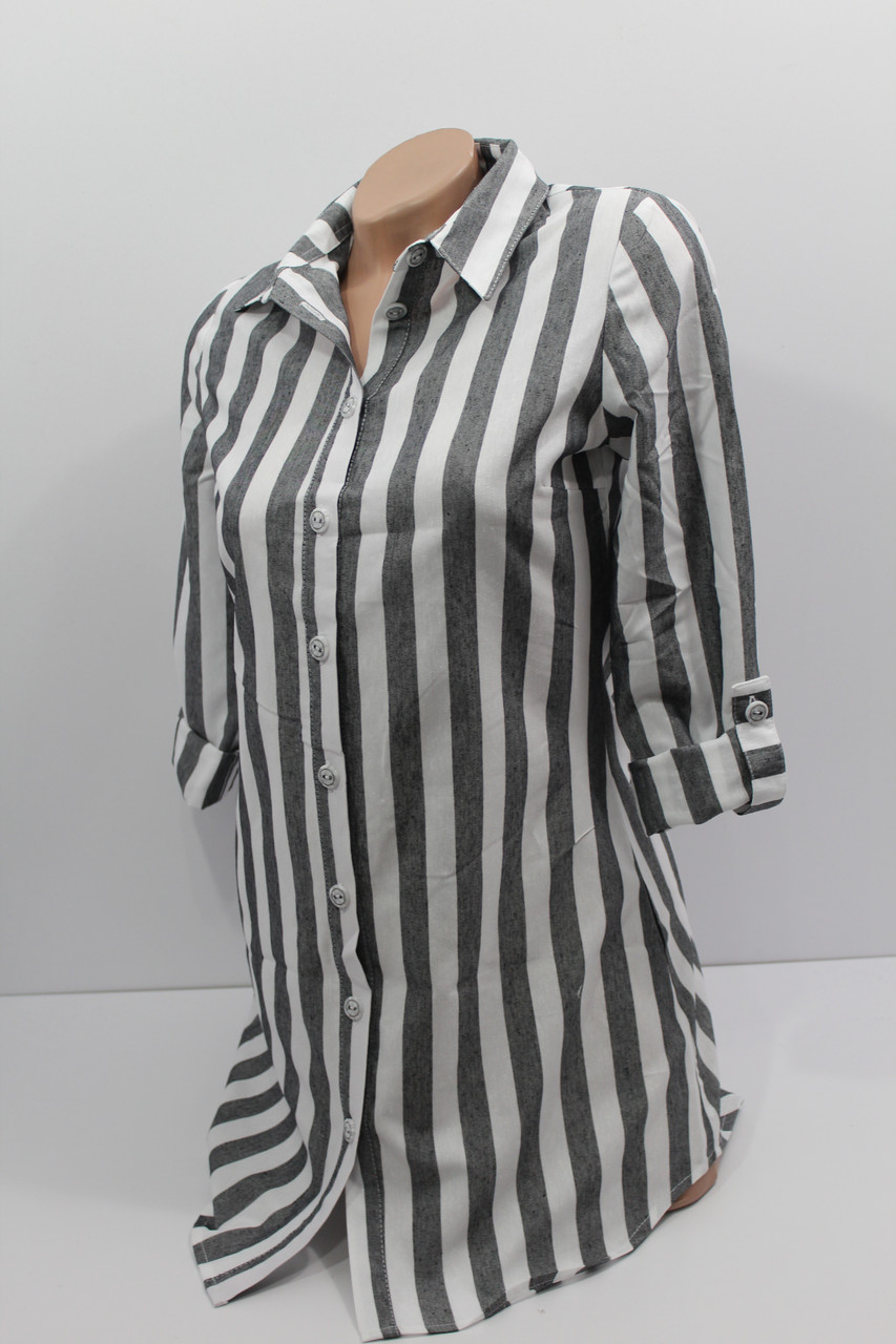 97518d3ab189462 Женская рубашка-туника в полоску хлопок с длинным рукавом оптом Турция