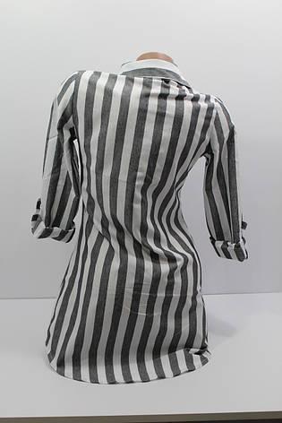 Женская рубашка-туника в полоску хлопок с длинным рукавом оптом Турция, фото 2