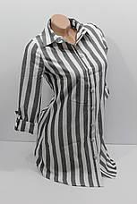 Женская рубашка-туника в полоску хлопок с длинным рукавом оптом Турция, фото 3