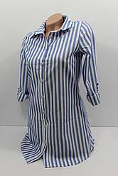 Женская рубашка-туника в полоску хлопок с длинным рукавом оптом Турция