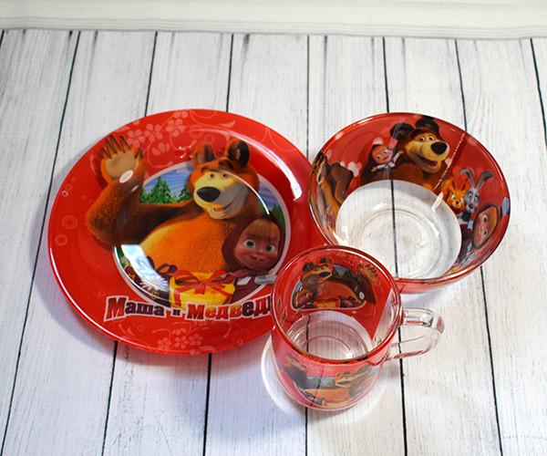 Набор детской стеклянной посуды 3 предмета с мульт-героями (A9551/2) Маша и Медведь
