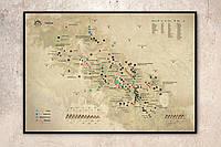 """Мапа гірських вершин зі скретч покриттям """"КАРПАТИ""""  NEW в металевій рамі"""