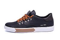 Мужские кожаные летние кроссовки, перфорация Polo black (реплика)