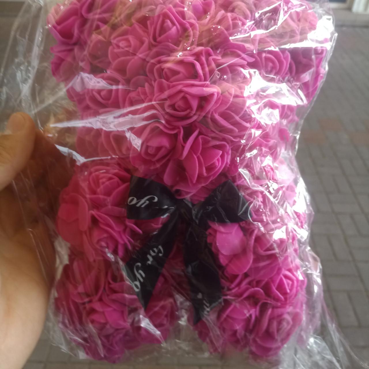 Мишки из 3d роз ручной работы 25см