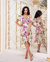 Платье Ассиметрия  цветы 164005