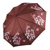 """Женский автоматический зонтик Flagman с орхидеями, модель """"Lava"""", коричневый, 734-2"""