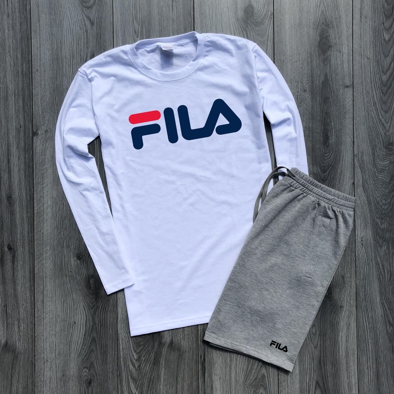 e0b16f04 Футболка с длинным рукавом + Шорты ! Спортивный костюм мужской летний в  стиле FILA - Интернет