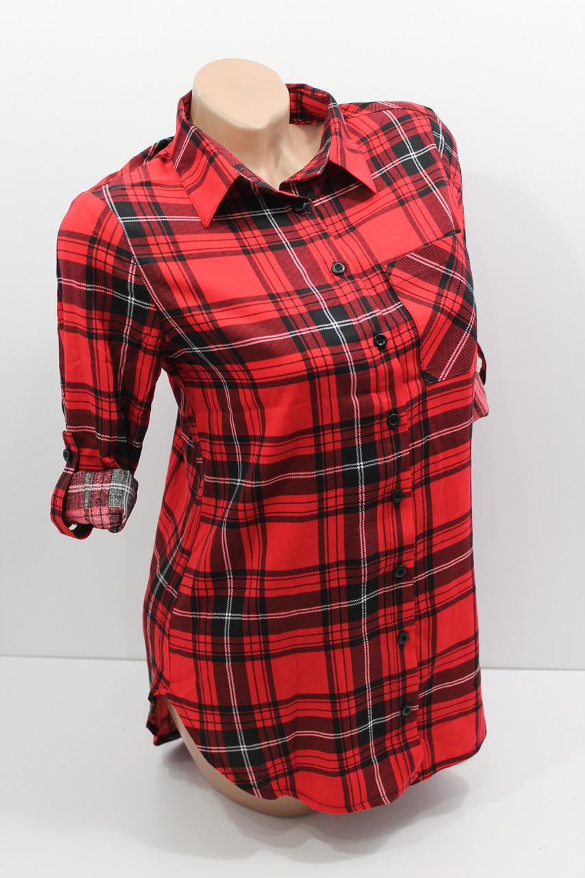Женская рубашка больших размеров штапельная с длинным рукавом оптом Турция
