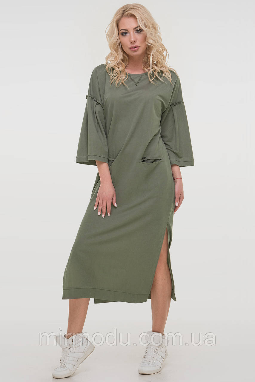 Спортивное платье  цвета хаки лен с 46 по 56  размер( 3 цвета) (влн)