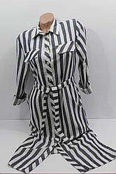 Женская рубашка-платье в полоску с длинным рукавом оптом Турция