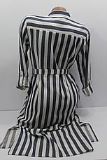 Женская рубашка-платье в полоску с длинным рукавом оптом Турция, фото 2