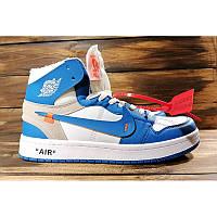 Мужские кроссовки Nike Air Jordan 1 Retro High x Off White голубые с белым р.40 Акция -44%!