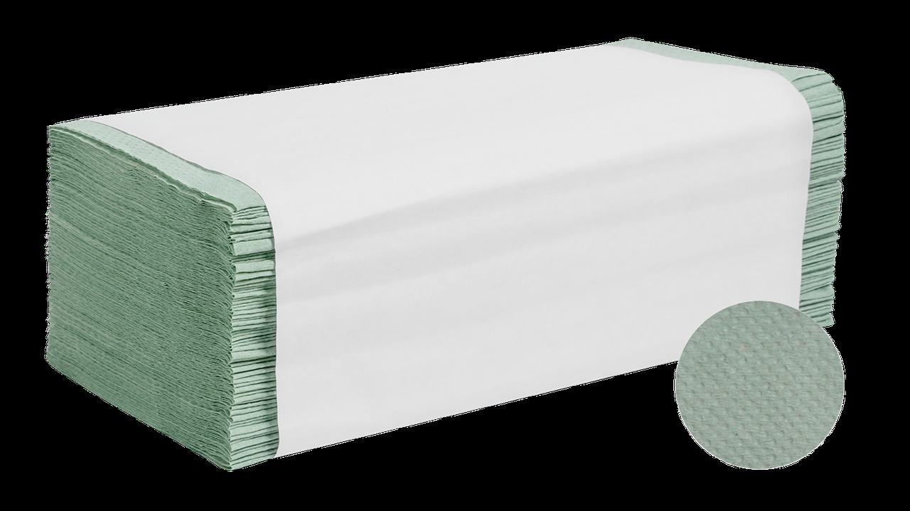 Полотенце бумажное, зелёное, V-сложение, макулатура,  1-но сл., 160 л/уп.
