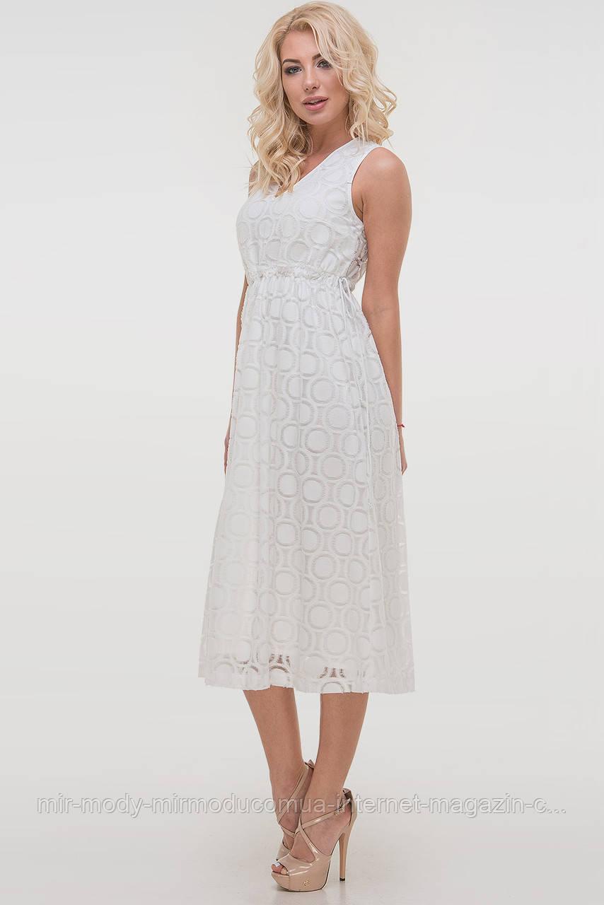 Летнее платье с пышной юбкой молочного цвета лен органза с 44 по 50  размер (влн)