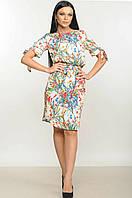 Женское платье-миди «Пейп» (Кремовое, розовое | 42, 44)