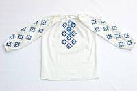 Женская белая льняная рубашка с синей вышивкой Ромб MOTYV by Piccolo L