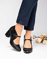 Туфли женские с ремешком черные, фото 1