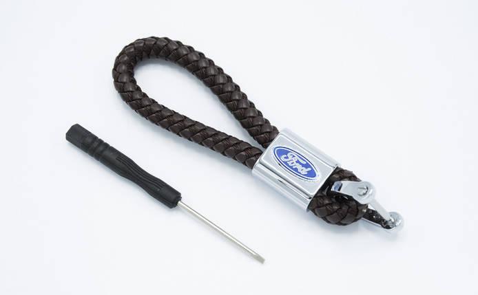 Брелок плетеный с логотипом FORD плетеный берлок с логотипом форд для автомобилиста + карабин/коричневый, фото 2