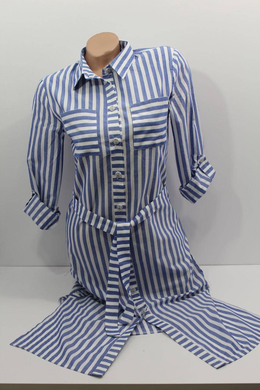 41143994f077003 Женская рубашка-платье в полоску с длинным рукавом оптом Турция - Ван Плюс  в Хмельницком