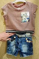 Костюм для девочки футболка+шорти котон