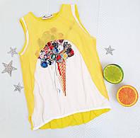 """Майка-обманка """"Мороженко"""", размер 128-164, желтый, фото 1"""