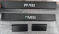 Накладки на пороги Chevrolet Aveo III 4D / 5D 2011- 4шт. Карбон