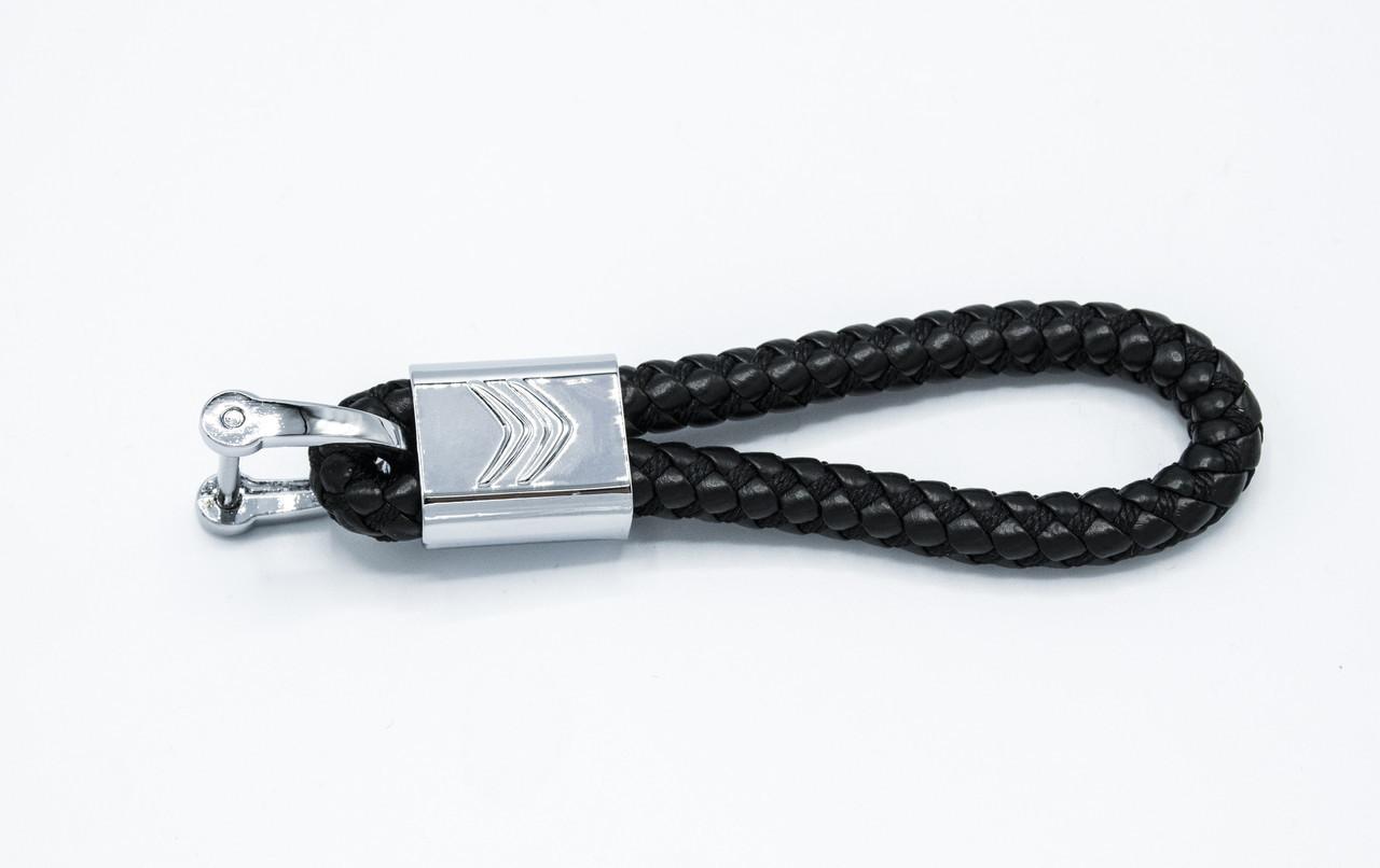 Брелок плетеный с логотипом Citroen плетеный берлок с логотипом ситроен для автомобилиста + карабин/Черный