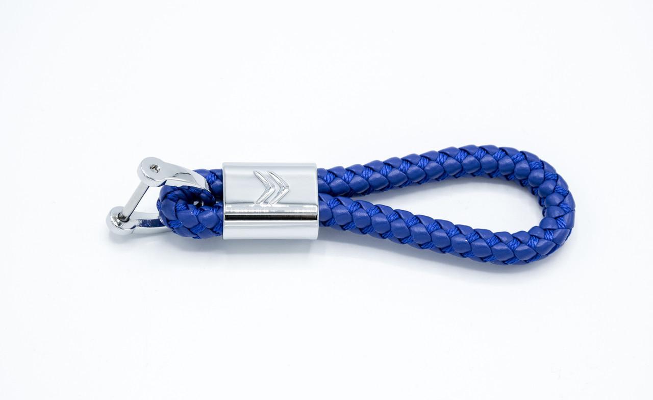 Брелок плетений з логотипом Citroen плетений берлок з логотипом сітроен для автомобіліста + карабін/Синій
