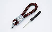 Брелок плетеный с логотипом MITSUBISHI плетеный берлок с логотипом мицубиси для автомобилиста + карабин/черно-красный