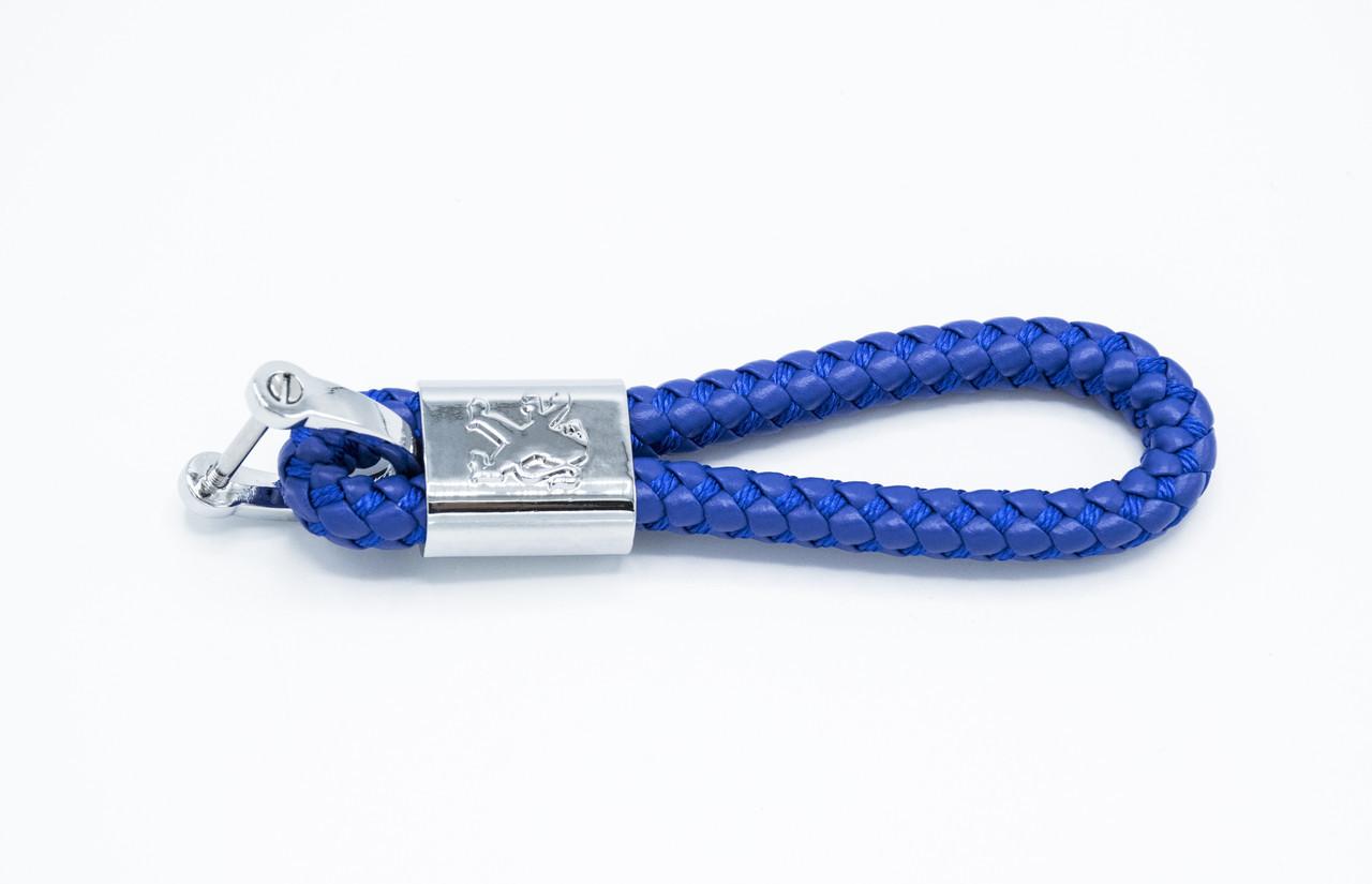 Брелок плетений з логотипом PEUGEOT плетений берлок з логотипом пежо для автомобіліста + карабін/Синій