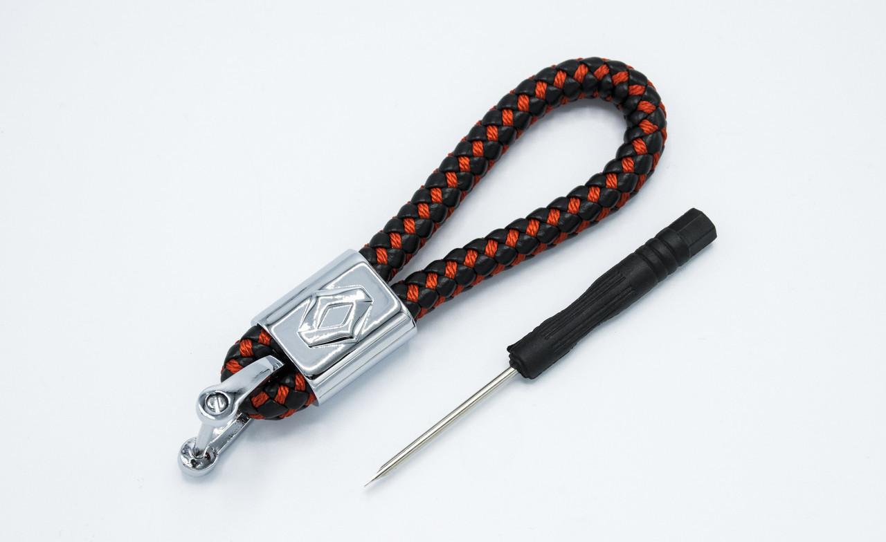 Брелок плетеный с логотипом RENAULT плетеный берлок с логотипом рено для автомобилиста + карабин/черно-красный
