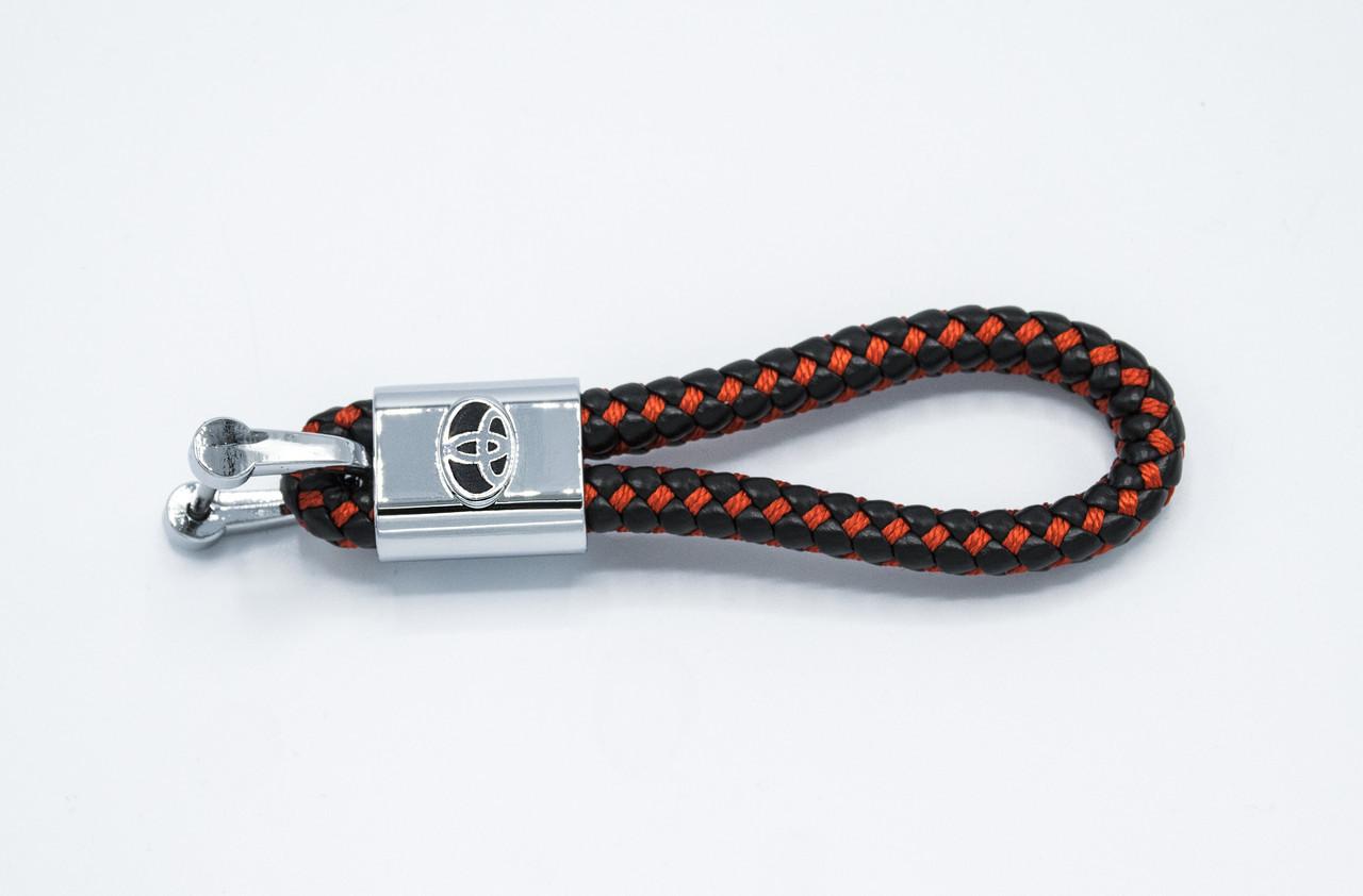 Брелок плетеный с логотипом TOYOTA плетеный берлок с логотипом тойота для автомобилиста + карабин/черно-красный
